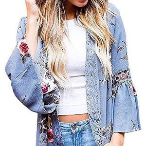 🔥2 in one use bell sleeve floral kimono cardigan